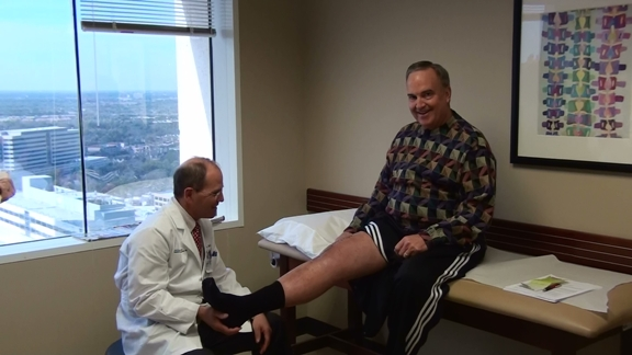 Patient 2 weeks after partial knee replacement